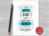 Good Birthday Cards for Dad Printable Birthday Card for Dad to the Best Dad In the whole