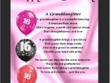 Granddaughter 16th Birthday Cards Personalised Mounted Poem Print 16th Birthday Design
