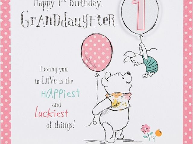 Granddaughter 1st Birthday Card Verses Winnie The Pooh Granddaughter