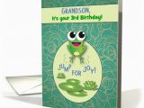 Grandson Birthday Cards Age 3 Grandson Customize Any Age Birthday Frog Card 1292188