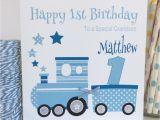 Grandson First Birthday Card Handmade Personalised Blue Train 1st Birthday Card