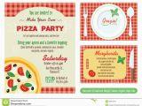 Graphic Design Birthday Invitations Vector Make Your Own Pizza Party Invitation Set Stock