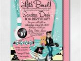 Grease Birthday Invitations Pink Lady Grease Birthday Invitations 1950s Bowling Party