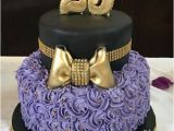 Great Birthday Gifts for A 25 Year Old Female Purple Cake Rose Cake Gold Bow 25 Years Old Birthday