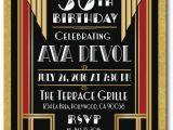 Great Gatsby Birthday Card Deco Roaring 20 39 S Great Gatsby 50th Birthday Invitations