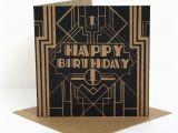Great Gatsby Birthday Card Happy Birthday Card the Great Gatsby Lino by