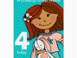 Great Niece Birthday Card Girls Great Niece 4th Birthday Card Girlie Aqua Zazzle Co Uk