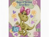 Great Niece Birthday Card Great Niece 14th Birthday with Shopping Dinosaur Zazzle