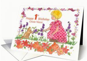 Great Niece Birthday Card Happy 1st Little Girl Pet Kitten