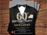 Guy Birthday Invitations Casino 60th Birthday Invitation Adult Man Birthday Party