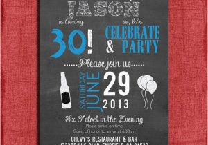 Guy Birthday Invitations Surprise 21st 30th 40th 50th Chalkboard Style