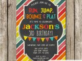 Gym Birthday Party Invitations Bright Colors Little Gym Birthday Party Invitation Bounce