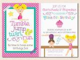 Gym Birthday Party Invitations Girl 39 S Gymnastics Birthday Party Invitation Cupcakes