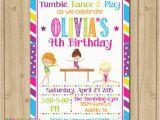 Gym Birthday Party Invitations Gymnastics Birthday Invitation Gymnastics Invitation
