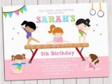 Gymnastics Birthday Party Invitations Printable Gymnastic Birthday Invitation Printable Gymnastics
