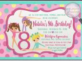 Gymnastics themed Birthday Invitations Girl Birthday Party Invitations