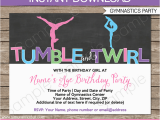 Gymnastics themed Birthday Invitations Gymnastics Party Invitations Birthday Party Template