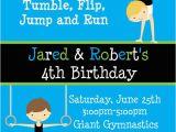 Gymnastics themed Birthday Invitations Printable Birthday Invitations Twins Party Gymnastics themed