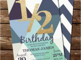Half Birthday Invitation Half Birthday Invitation Geometric Blue Invitation