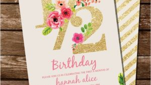 Half Birthday Invitation Half Birthday Invitation Gold Glitter Floral Watercolor