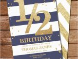 Half Birthday Invitation Half Birthday Invitation Gold Glitter Invitation Blue and