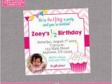 Half Birthday Invitation Half Birthday Party Invitation Girl Cupcake 6 by