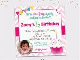 Half Birthday Invitation Half Birthday Party Invitation Girl Cupcake 6 Month