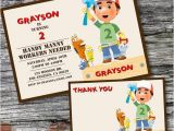 Handy Manny Birthday Invitations Handy Manny Birthday Invitation and Thank You Card Handy