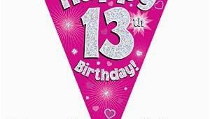 Happy 13th Birthday Banner Pink Pink Age 13 Happy 13th Birthday Party Decorations Banners