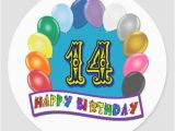 Happy 14th Birthday Banners 14th Birthday Gifts with assorted Balloons Design Sticker