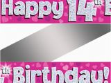 Happy 14th Birthday Banners 14th Birthday Pink Holographic Banner