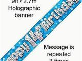 Happy 14th Birthday Banners Amazon Com 9ft Blue Silver Stars Holographic Happy 14th