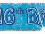 Happy 16th Birthday Banner Pink 16th Birthday Glitz Blue 12ft Prism Banner Novelties