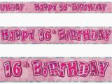 Happy 16th Birthday Banner Printable 12ft Happy 16th Birthday Pink Sparkle Prismatic Party Foil