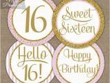 Happy 16th Birthday Banner Printable Sweet 16 Birthday Cupcake toppers Sweet Sixteen Pink Gold