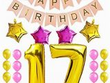 Happy 17th Birthday Banners Amazon Com Kungyo Sweet 17th Birthday Party Decorations