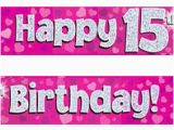 Happy 17th Birthday Banners Pink Silver Holographic Happy 15th Birthday Banner