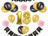 Happy 18th Birthday Balloon Banner Happy 18th Birthday 1set Black Gold Balloons Adult