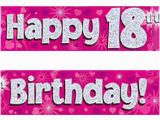 Happy 18th Birthday Banners Printable Pink Silver Holographic Happy 18th Birthday Banner