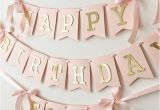 Happy 18th Birthday Personalised Banner Blush Rose Gold Happy Birthday Banner Personalized Girl