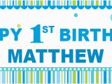 Happy 1st Birthday Banner Blue Happy 1st Birthday Banner Blue Spots theme