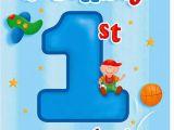 Happy 1st Birthday Boy Card Boys First Birthday Party Invitations Birthday Wikii