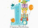 Happy 1st Birthday Boy Card Happy First Birthday with Owls and Gift Box Baby Boy