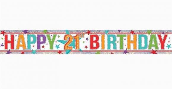 Happy 21st Birthday Banner Clip Art Free Multi Colour Happy 21st Birthday Holographic Foil Banners