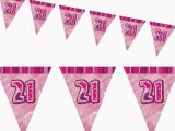 Happy 21st Birthday Banners 12ft Pink Sparkle Happy 21st Birthday Pennant Flag Banner