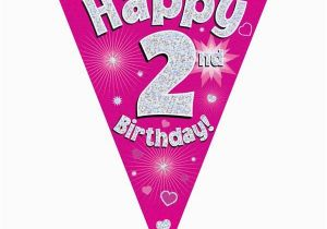 Happy 2nd Birthday Banners Pink Heart Happy 2nd Birthday Foil Flag Bunting Banner