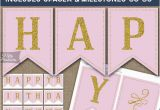 Happy 30th Birthday Banner Gold Birthday Banner Printable Happy Birthday Banner Pink