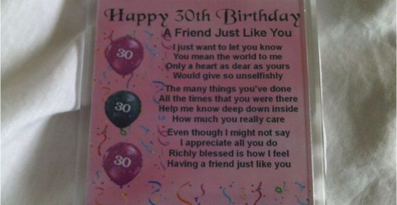 Happy 30th Birthday Gifts for Him Personalised Coaster Friend Poem Female 30th