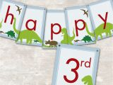 Happy 3rd Birthday Banners Dinosaur Dig Printable Birthday Party Paper and Cake