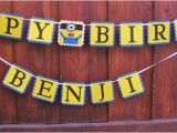 Happy 3rd Birthday Banners Minion Happy Birthday Banner Despicable Me Sign by